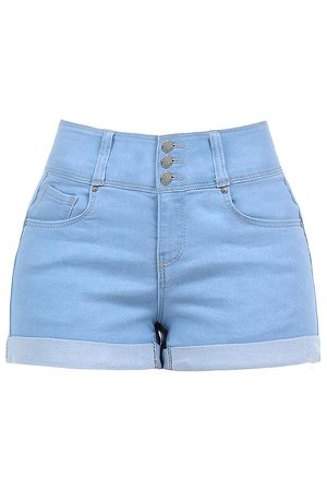 LE3NO Womens Casual Push Up 3 Buttons Mid Rise Roll Up Hem Denim Shorts | LE3NO blue