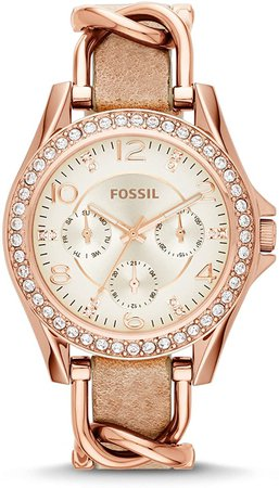 Fossil Women Riley Quartz Stainless Steel and Leather Multifunction Watch, Color: Rose Gold, Tan (Model: ES3466): Fossil: Watches