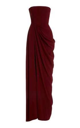Exclusive Draped Crepe Strapless Gown By Alex Perry   Moda Operandi
