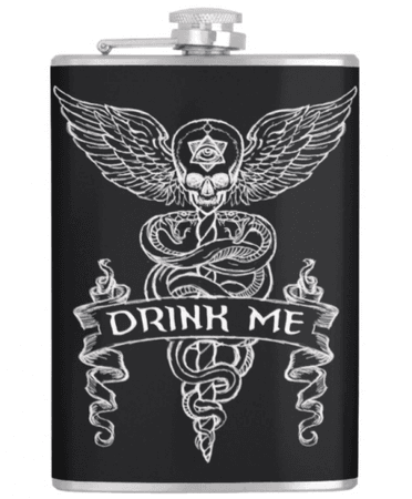 alcohol flask goth edgy witch dark black