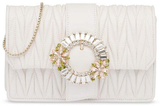 mini jewel-buckle matelasse cross-body bag