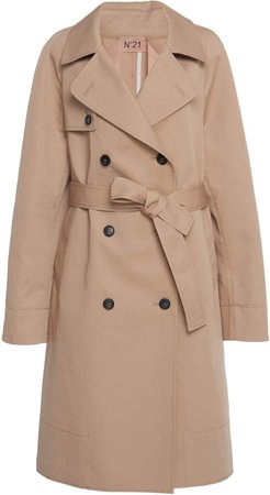N 21 Tammy Long Leather Trench Coat