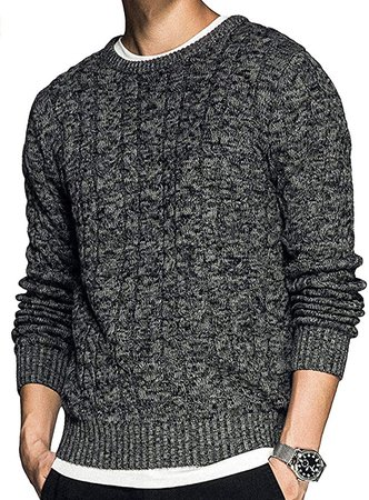 Hestenve Mens Crewneck Sweaters Stylish Warm Pullovers Rib Soft Cotton Cable Knitted Twisted Sweater Grey at Amazon Men's Clothing store