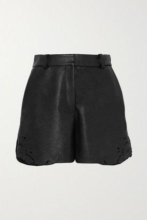 Laser-cut Faux Leather Shorts - Black