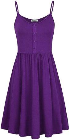Amazon.com: SUNGLORY Summer Dress,Women's A Line Dress with Button Placket Purple M: Clothing
