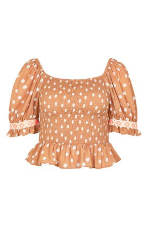 River Island Edith Toffee Spot Smocked Crop Top   Nordstrom