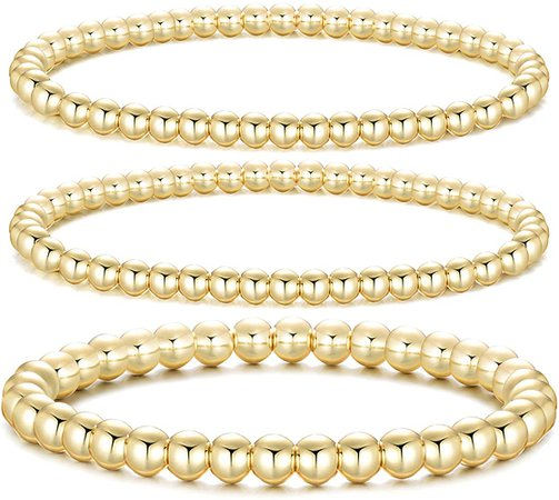 Amazon.com: Dndty 14K Gold Plated Bead Ball Bracelets Stretchable Elastic Gold Beaded Bracelets for Women (Gold-2 pcs Small Beads Bracelets, 1 pcs Large Beads Bracelet): Clothing