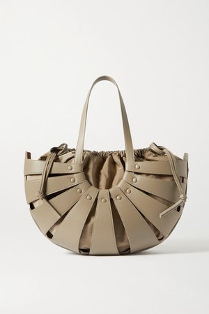 The Shell Medium Leather Shoulder Bag - Army green