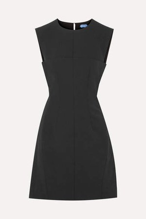 Open-back Stretch-crepe Mini Dress - Black