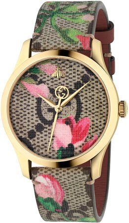 G-Timeless Floral Print GG Canvas Strap Watch, 38mm