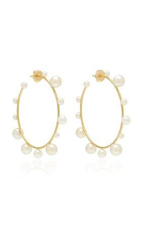 18k Gold And Pearl Hoop Earrings By Irene Neuwirth | Moda Operandi