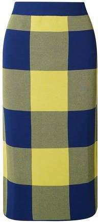 Gingham Jacquard-knit Midi Skirt