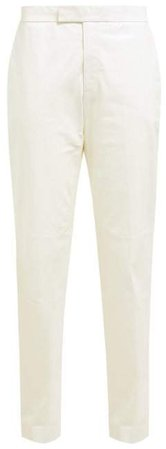 Mid Rise Leather Trousers - Womens - White