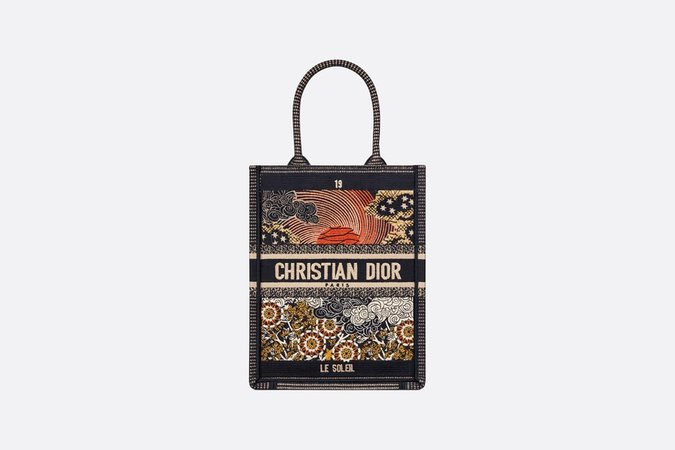 Sun Vertical Dior Book Tote Tarot Embroidered Canvas Bag - Bags - Women's Fashion | DIOR