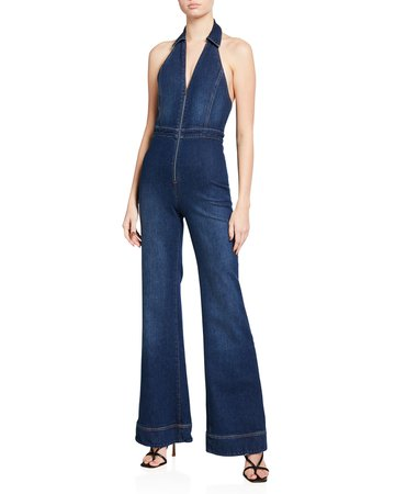 ALICE + OLIVIA JEANS Gorgeous Halter-Neck Fitted Jumpsuit | Neiman Marcus