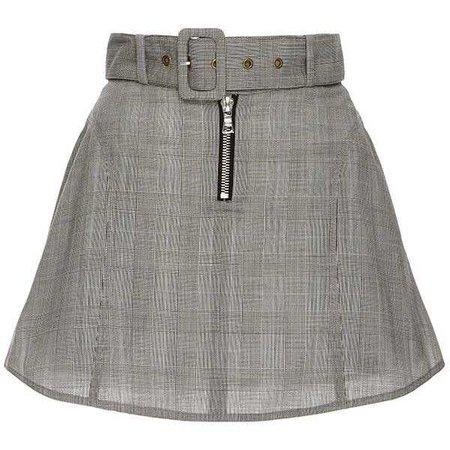 Sandy Liang Ilana Grey Check Skirt ($425)