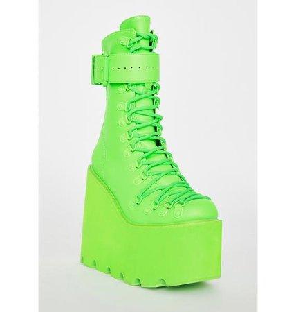 Club Exx Neon Green Traitor Boots | Dolls Kill