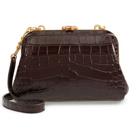 Tory Burch Small Cleo Croc Embossed Leather Shoulder Bag   Nordstrom