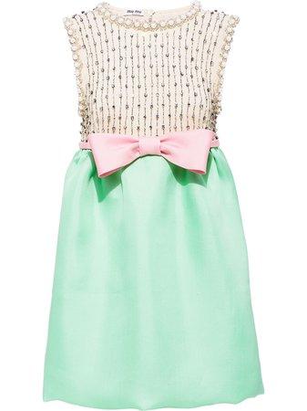 Shop green Miu Miu gazar embroidered dress with Express Delivery - Farfetch