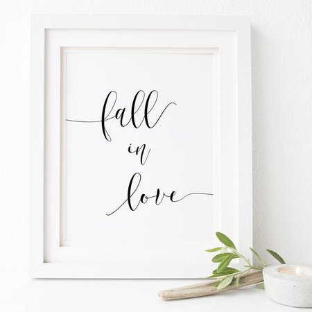 Fall In Love Sign-Fall In Love Printable-Wedding | Etsy