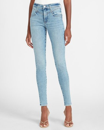 Mid Rise Seamed Light Wash Skinny Jeans