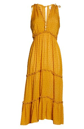 Auguste Farrah Clip Dot Midi Dress yellow