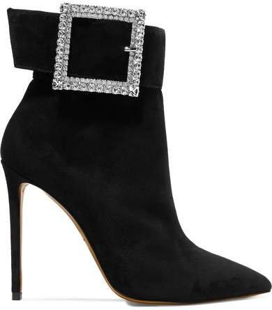Yasmin Swarovski Crystal-embellished Suede Ankle Boots - Black