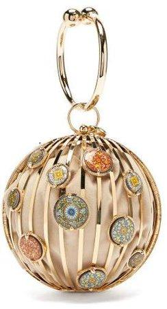 By Michela Panero - Ragusa Metal Clutch Bag - Womens - Gold Multi