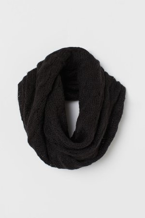 Cable-knit Tube Scarf - Black