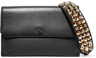 Loubiblues Studded Smooth And Textured-leather Clutch - Black