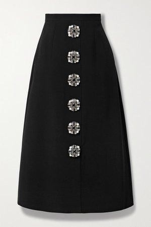 Embellished Crepe Midi Skirt - Black