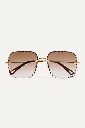 Brown Rosie square-frame gold-tone and tortoiseshell acetate sunglasses   Chloé   NET-A-PORTER