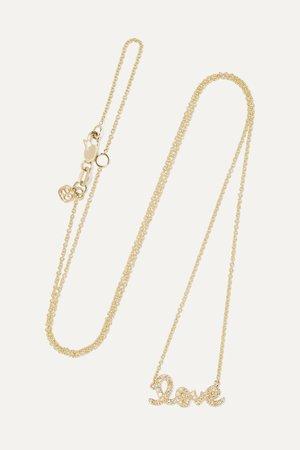 Gold Love 14-karat gold diamond necklace | Sydney Evan | NET-A-PORTER
