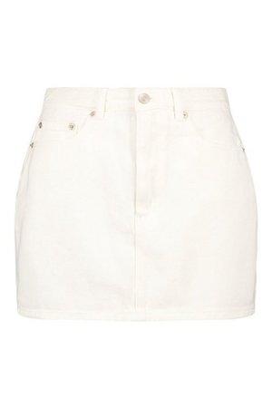 Ecru Denim Skirt | boohoo