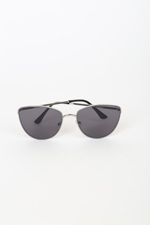 Silver Sunglasses - Cat-Eye Sunglasses - Grey Sunglasses
