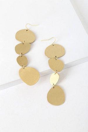 Chic Gold Earrings - Geometric Earrings - Drop Earrings