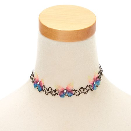Rainbow Butterfly Tattoo Choker Necklace | Claire's US