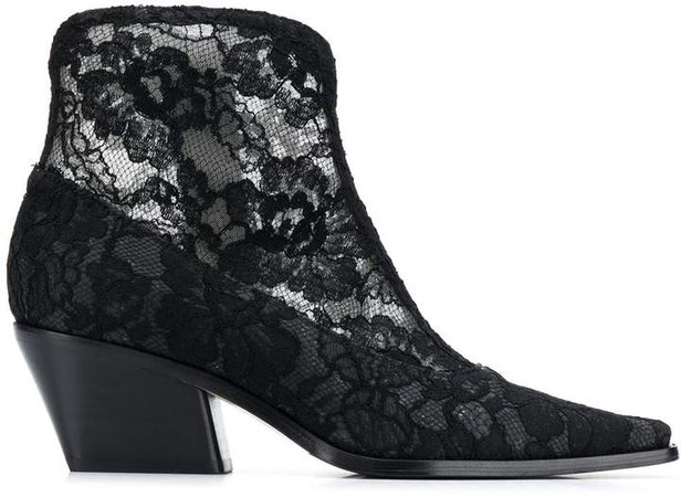 Floral Lace Pointed Boots