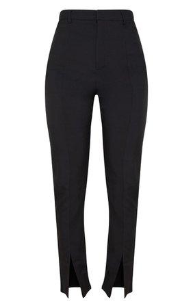 Black High Waisted Straight Leg Split Hem Trouser | PrettyLittleThing