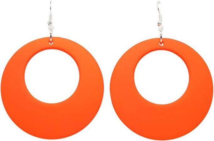 Bluebubble DISCO FEVER Large Round Neon Hoop Earrings - 32 Colours Available (Dayglow Orange) With FREE Gift Box: Amazon.co.uk: Jewellery