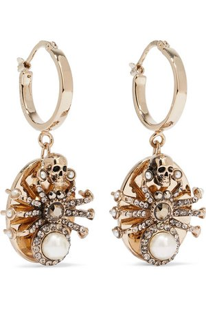 Alexander McQueen | Gold-tone Swarovski crystal and faux pearl earrings | NET-A-PORTER.COM
