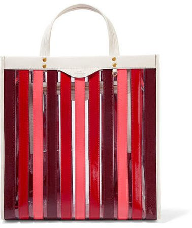 Paneled Leather And Pvc Tote - Red