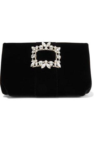Roger Vivier   Crystal-embellished velvet clutch   NET-A-PORTER.COM