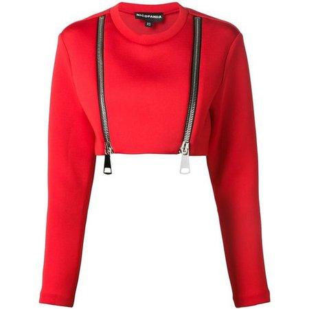 Nicopanda cropped zipped sweatshirt