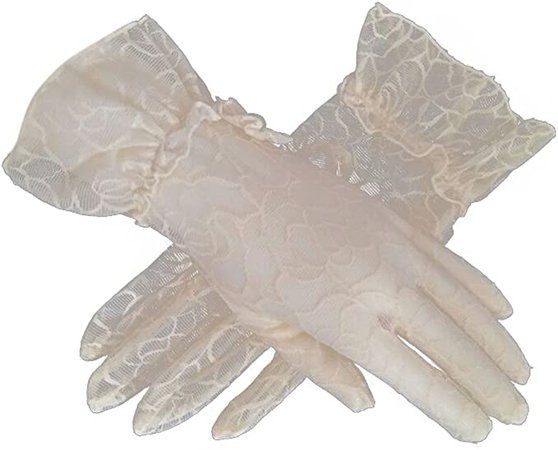 Women's Bridal Wedding Lace Gloves Derby Tea Party Gloves Victorian Gothic Costumes Gloves (Beige) at Amazon Women's Clothing store