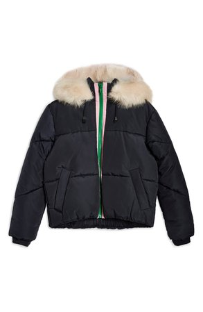 Topshop Lauren Faux Fur Hooded Puffer Jacket (Regular & Petite) | Nordstrom