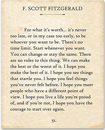 F. Scott Fitzgerald - For What It's Worth... - 11x14 Unframed Typography Book Page Print - Great Gift for Book Lovers