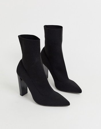 ASOS DESIGN Enhance block heel sock boots in black knit   ASOS