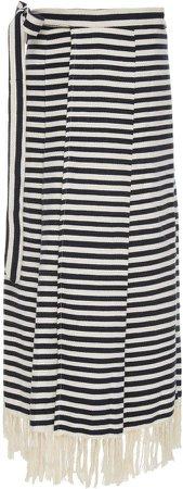 Escvdo Pancha Striped Cotton Midi Skirt
