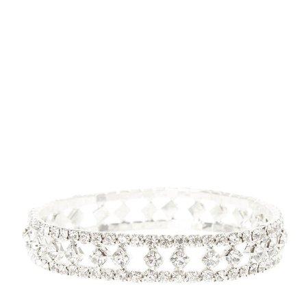 Silver Glass Rhinestone Stretch Bracelet | Claire's US